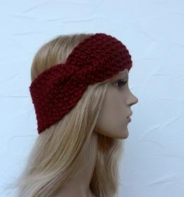 Stirnband, Ohrenwärmer in bordeaux - Polyacryl - Handarbeit kaufen