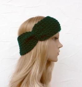 Stirnband, Ohrenwärmer in tannengrün - Polyacryl - Handarbeit kaufen