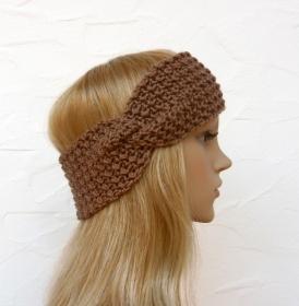Stirnband, Ohrenwärmer in nougat (braun) - Polyacryl - Handarbeit kaufen
