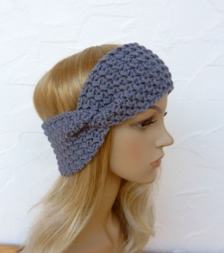 Stirnband, Ohrenwärmer in jeans/grau - 80%Schurwolle (merino), 20%Baby Alpaka - Handarbeit kaufen