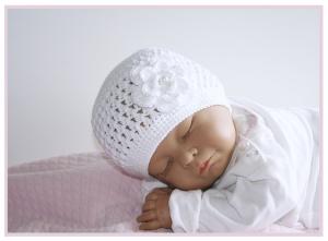 weisse Babymütze ♥ Baby Nele ♥ mit Blume, Ku. 35/36 cm versch. Größen und Farben wählbar,  Baumwolle gehäkelt