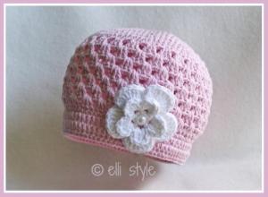 Babymütze ♥Little Angel♥ Häkelmütze mit Blume, Ku. 35/36 cm, verschiedenen Größen und Farbwahl möglich