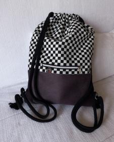 stilvoller Turnbeutel ♥Schachbrett♥ schwarz-weiß mit Kunstleder in Büffeloptik aubergine/lila - Handarbeit kaufen