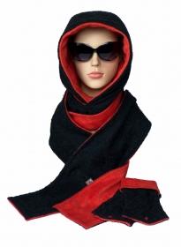 Kapuzenschal-Set XL ♥ Kapuzenschal und Armstulpen im Set ♥ zum Wenden ♥ in schwarz und rot - Handarbeit kaufen