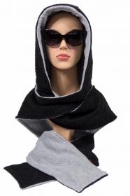 Kapuzenschal ♥Eisbär♥ Kapuze und Schal in einem, in schwarz und hellgrau ♥ statt Mütze windgeschützt, kuschelig und warm - Handarbeit kaufen
