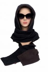 Kapuzenschal ♥Braunbär♥ Kapuze XL und Schal in einem, in schwarz und braun ♥ statt Mütze windgeschützt, kuschelig und warm - Handarbeit kaufen