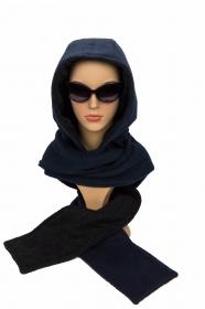 Kapuzenschal ♥BlueMoon♥ Kapuze und Schal in einem, in schwarz und blau ♥ statt Mütze windgeschützt, kuschelig und warm - Handarbeit kaufen
