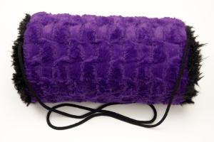 Erwachsenen-Muff aus Plüsch in schwarz und lila mit Innentasche und Baumwollkordel  - Handarbeit kaufen