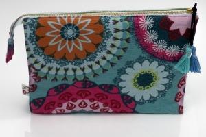 Kosmetiktasche ♥MANDALA♥ in hellblau mit 3 Fächern ♡ Taschenorganizer für Kosmetik und mehr - Handarbeit kaufen