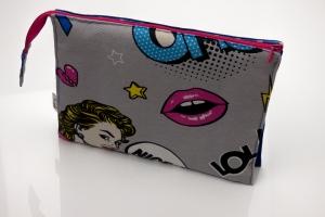 Kosmetiktasche ♥COMIC♥ mit 3 Fächern ♡ Taschenorganizer für Kosmetik und mehr - Handarbeit kaufen