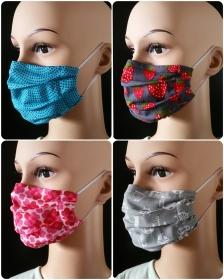 Kinder-Stoffmasken nach Wunsch aus 100 % Baumwolle, mit Nasendraht, doppellagig, Gummibänder anpassbar, bei 60°C waschbar ☆ Versand kostenlos innerhalb DE - Handarbeit kaufen