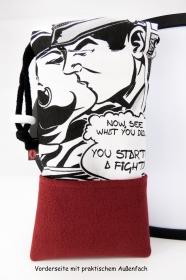 Handytasche Brillenetui ♥ Love Me Tender ♥ im Comic-Stil schwarz-weiß  - Handarbeit kaufen