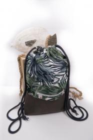 stilvoller Turnbeutel ♥Südsee♥ florales Muster mit braunem MikroVelour-Kunstleder und kostenlosem Versand - Handarbeit kaufen