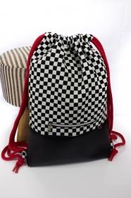 stilvoller Turnbeutel ♥ Formel 1 ♥ schwarzes Kunstleder und rote Baumwollkordel