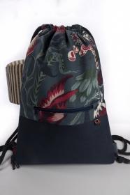 stilvoller Turnbeutel ♥ Amazonas ♥ mit blauem Kunstleder in Büffeloptik  - Handarbeit kaufen