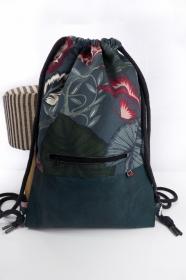 stilvoller Turnbeutel ♥ Dschungel ♥ mit petrolfarbenem Kunstleder im Vintagelook  - Handarbeit kaufen