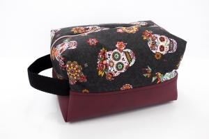 Kulturtasche ♥ Mexiko ♥ für Sie und Ihn mit weinrotem Kunstleder  - Handarbeit kaufen