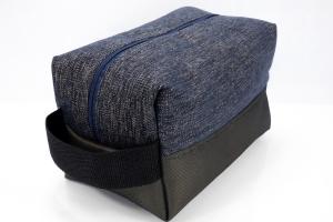 Kulturtasche ♥ Midnight Star ♥ für Sie und Ihn mit feinem Schimmer in dunkelblau-gold und schwarz-gold  - Handarbeit kaufen