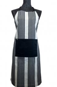 Schürze FLEXI ♡ aus Baumwolle weiß/schwarz gestreift mit großer Tasche - Handarbeit kaufen