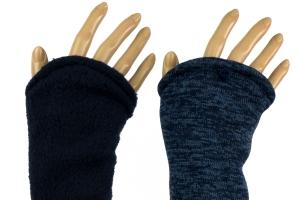 Armstulpen zum Wenden in Blau aus Strick und Fleece für Erwachsene