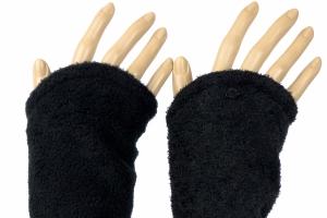 Armstulpen zum Wenden in schwarz aus Strickbouclé und Fleece für Erwachsene  - Handarbeit kaufen