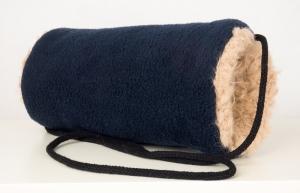 Kindermuff in blau-beige aus Fleece und Zottelplüsch ☆ Baumwollkordel zum Umhängen