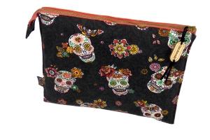 Kosmetiktasche ♥Skulls♥ in orange Dia de los Muertos mit 3 Fächern ♡ Taschenorganizer für Kosmetik und mehr - Handarbeit kaufen