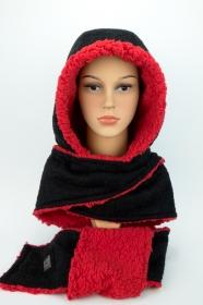 Kapuzenschal ♥Teddyplüsch♥ Kapuze und Schal in einem, in schwarz und rot ♥ statt Mütze windgeschützt, kuschelig und warm  - Handarbeit kaufen