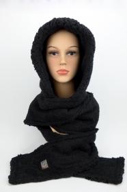 Kapuzenschal ♥Teddyplüsch♥ Kapuze und Schal in einem, schwarz ♥ statt Mütze windgeschützt, kuschelig und warm