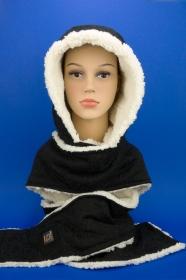 Kapuzenschal ♥Teddyplüsch♥ Kapuze und Schal in einem, in schwarz und creme ♥ statt Mütze windgeschützt, kuschelig und warm
