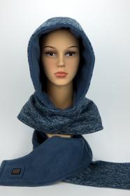 Kapuzenschal ♥JEANS♥ Kapuze und Schal in einem, in hellen Blautönen ♥ statt Mütze windgeschützt, kuschelig und warm - Handarbeit kaufen