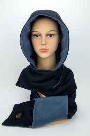 ★UNIKAT★ Kapuzenschal ♥JEANS♥ Kapuze und Schal in einem, in Blautönen ♥ statt Mütze windgeschützt, kuschelig und warm - Handarbeit kaufen