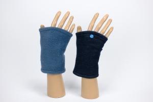 ★UNIKAT★ Pulswärmer zum Wenden in blau für Erwachsene ☆ kurze Armstulpen