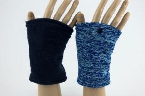 Pulswärmer zum Wenden in Blautönen für Erwachsene ☆ kurze Armstulpen