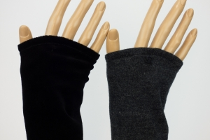 Armstulpen zum Wenden dunkelgrau-melierter Jersey und schwarzer Nicki für Erwachsene  - Handarbeit kaufen