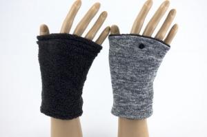 Pulswärmer zum Wenden in Grautönen für Erwachsene ☆ kurze Armstulpen mit Teddyfleece  - Handarbeit kaufen