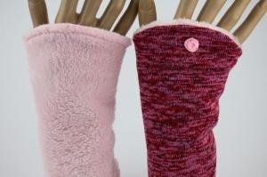 Armstulpen zum Wenden in Rot-Rosé für Erwachsene ☆ Armstulpen mit Wellness-Fleece