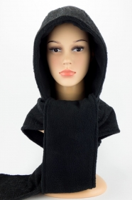 Kapuzenschal ♥BlackMoon♥ Kapuze und Schal in einem, schwarz ♥ statt Mütze windgeschützt, kuschelig und warm  - Handarbeit kaufen