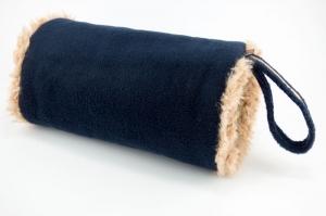Sonderanfertigung für Steffi ♥ Muff in  blau/beige aus Fleece und Zottelplüsch für Erwachsene ☆ mit Handschlaufe ☆ kostenloser Versand innerhalb DE