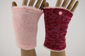 Pulswärmer zum Wenden in Rot-Rosé für Erwachsene ☆ kurze Armstulpen mit Wellness-Fleece ☆ Versand kostenlos innerhalb DE - Handarbeit kaufen