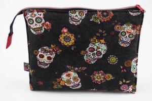 Kosmetiktasche ♥Totenkopf♥ anthrazit mit rot und 3 Fächer ♡ Dia de los Muertos ♡ Taschenorganizer für Kosmetik und mehr  - Handarbeit kaufen