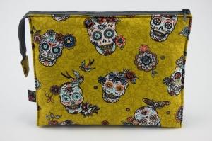 Kosmetiktasche ♥Sugarskull♥ gelb mit grau und 3 Fächer ♡ Dia de los Muertos ♡ Taschenorganizer für Kosmetik und mehr  - Handarbeit kaufen