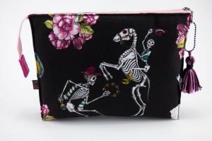 UNIKAT Kosmetiktasche ♥ Mexiko ♥ mit 3 Fächern  Tag der Toten  ♡ Taschenorganizer für Kosmetik und mehr - Handarbeit kaufen