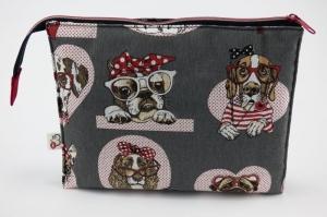 Kosmetiktasche ♥Wauzi♥ mit 3 Fächern und niedliche Hunde ohne Ende ♡ Taschenorganizer für Kosmetik und mehr - Handarbeit kaufen