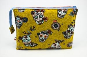 Kosmetiktasche ♥Sugarskull♥ gelb mit hellblau und 3 Fächern ♡ Dia de los Muertos ♡ Taschenorganizer für Kosmetik und mehr