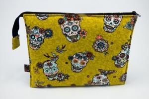 Kosmetiktasche ♥Sugarskull♥ gelb mit kaki und 3 Fächern ♡ Dia de los Muertos ♡ Taschenorganizer für Kosmetik und mehr  - Handarbeit kaufen
