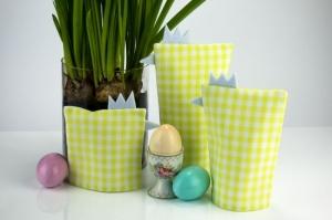 Eierwärmer-Set HÜHNERFAMILIE 3er-Set ♡ grün-weiß-karierte Baumwolle ♡ auch eine tolle Dekoration ♡ nicht nur für Ostern