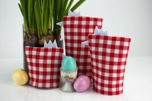 Eierwärmer-Set HÜHNERFAMILIE 3er-Set ♡ rot-weiß-karierte Baumwolle ♡ auch eine tolle Dekoration ♡ nicht nur für Ostern