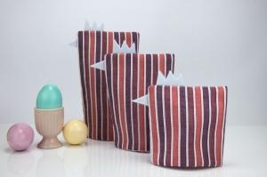 Eierwärmer-Set HÜHNERFAMILIE 3er-Set ♡ gestreifte Baumwolle in Pastelltönen ♡ auch eine tolle Dekoration ♡ nicht nur für Ostern