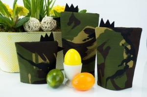 Eierwärmer-Set TRUPPE 3er-Set ★ Schwarz ★ Camouflage Flecktarn ♡ auch eine tolle Dekoration ♡ nicht nur für Ostern - Handarbeit kaufen